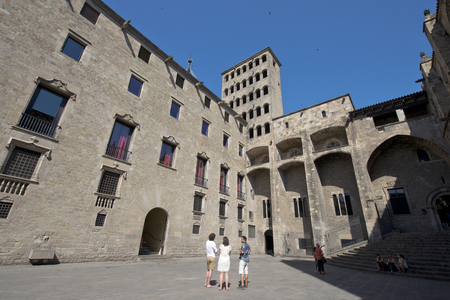 gothic heart: Barcelona, Spain - June 26: Medieval Palau Reial Royal Palace at Kings Square Kings Square, in the heart of Barri Gotic Gothic Quarter Barcelona on June 26, 2015, Catalonia, Spain Editorial