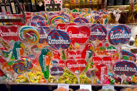 la boqueria: Barcelona, Spain - June 26: La Boqueria market on June 26, 2015 in Barcelona. One of the oldest markets in Europe That still exist. Editorial