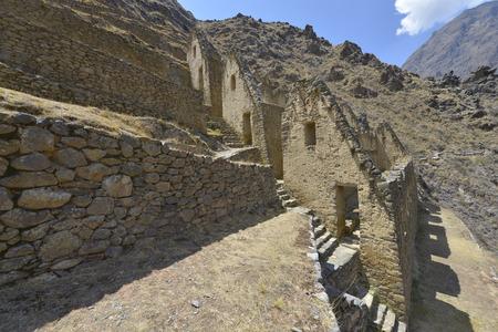 inca ruins: Peru, Ollantaytambo, Pinkulluna Inca ruins in the Sacred Valley in Peru. Stock Photo