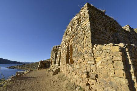 inca ruins: Inca ruins at Isla del Sol on the Titicaca lake in Bolivia Stock Photo