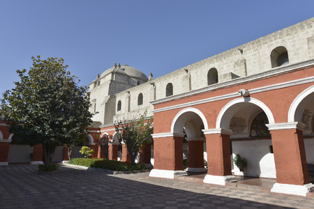 convent: Saint Catherine Monastery of Santa Catalina in Arequipa, Peru. Is Domincan monastery of nuns of Second Order It was built in 1580 in South America. Stock Photo