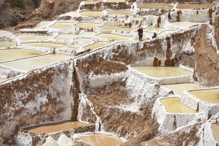 Salina Maras, the Inca traditional salt field in Maras in Sacred Valley near Cuzco, Peru