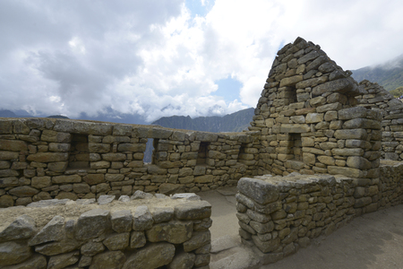 inca architecture: Machu Picchu, Peru, UNESCO World Heritage Site in 1983. One of the New Seven Wonders of the World. Stock Photo
