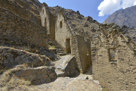 inca ruins: Peru, Ollantaytambo, Pinkulluna Inca ruins in the sacred valley in the Peru Stock Photo