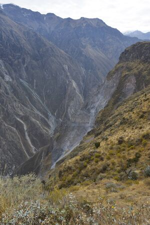 the deepest: Colca Canyon is the deepest in the world, Peru Stock Photo