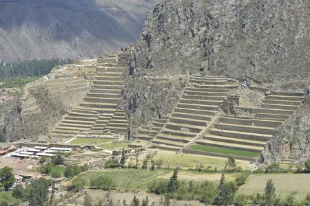 inca ruins: Peru, Ollantaytambo, Pinkulluna Inca ruins in the Sacred Valley in Peru Stock Photo