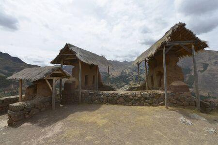 inca architecture: Inca villages ruins in Pisac, Sacred Valley of Incas, Peru