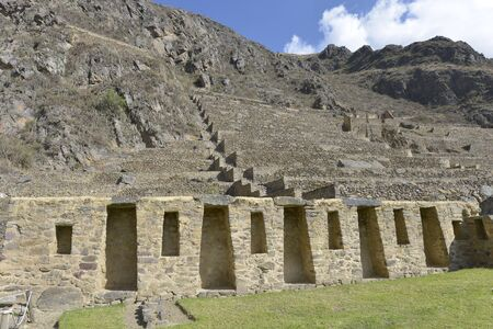 sacred valley: Peru, Ollantaytambo, Inca ruins in the sacred valley in the Peru. Stock Photo