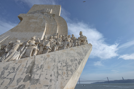 discoverer: Close up of the Monument to the Discoveries in Lisbon, Portugal. The monument celebrates the Portuguese Age of Discovery.