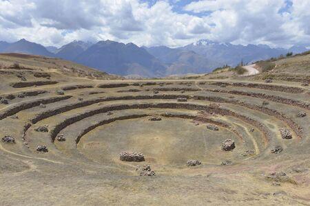 inca: Inca terrace ruins in Moray, Cuzco, Peru Stock Photo