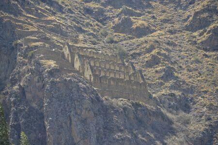 excursions: Peru, Ollantaytambo, Pinkulluna Inca ruins in the Sacred Valley in Peru Stock Photo
