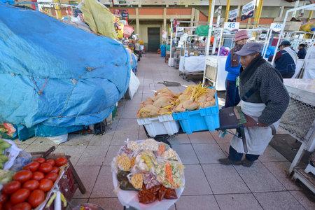 quechua indian: AREQUIPA, PERU - SEPTEMBER 1: Interior of Central Market on September 1, 2015 in Arequipa, Peru Editorial