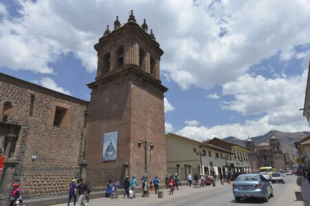 plaza of arms: CUZCO, PERU - SEPTEMBER 12: People on the street in the center of Cuzco on September 12, 2015 in Peru