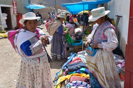 quechua: CHIVAY, PERU - SEPTEMBER 2: Unidentified Quechua people in Chivay market on September 2, 2015, Arequipa Region, Peru