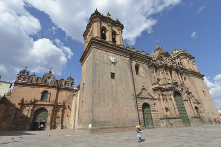 plaza of arms: CUZCO, PERU - SEPTEMBER 12: Cathedral at the main square on September 12, 2015 in Cuzco, Peru