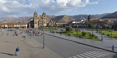 plaza of arms: CUZCO, PERU - SEPTEMBER 11: Society of Jesus church at the Plaza de Armas on September 11 2015 in Cuzco, Peru.