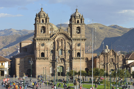 plaza of arms: CUZCO, PERU - SEPTEMBER 11: Society of Jesus church at the Plaza de Armas on September 11 2015 in Cuzco, Peru