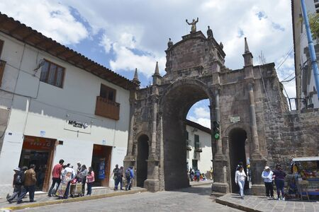 plaza of arms: CUZCO, PERU - SEPTEMBER 12: People on the street in the center of Cuzco on September 12, 2015 in Peru.