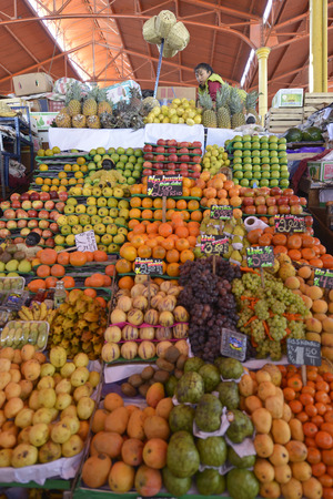 quechua indian: AREQUIPA, PERU - SEPTEMBER 1: Interior of Central Market on September 1, 2015 in Arequipa, Peru.