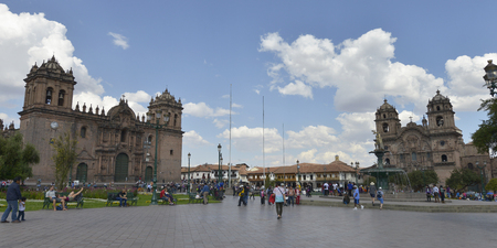 plaza of arms: CUZCO, PERU - SEPTEMBER 12: Church and Society of Jesus at the Cathedral Square on September 12, 2015 in Cuzco, Peru Editorial