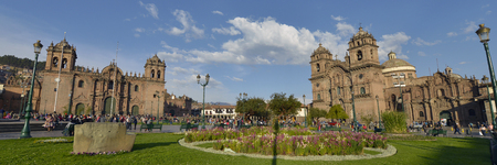 plaza of arms: CUZCO, PERU - SEPTEMBER 12: Society of Jesus church at the main square on September 12, 2015 in Cuzco, Peru