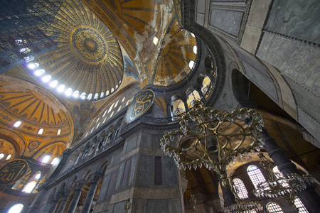 constantinople ancient: Istanbul, Turkey - May 14, 2016: Interior of the Hagia Sophia on May 14, 2016 in Istanbul, Turkey. Hagia Sophia is former Orthodox patriarchal basilica, later a mosque.