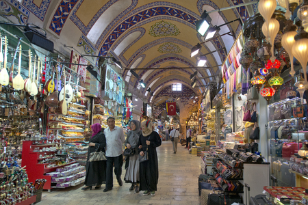 Istanbul, Turkey - May 14, 2016: Shops and interior architecture of the old traditional market Grand Bazaar on May 14, 2016 in Istanbul, Turkey.