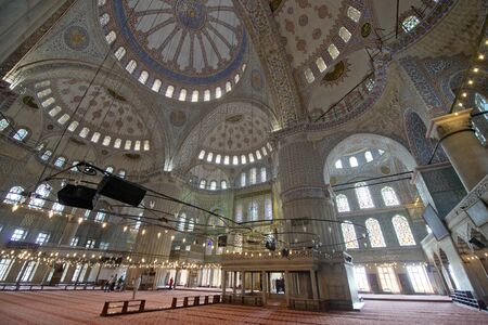 camii: Istanbul, Turkey - May 14, 2016: Blue Mosque, Sultan Ahmet Camii in Istanbul. The Sultanahmet square is the popular tourist place in Istanbul on May 14, 2016 in Turkey.