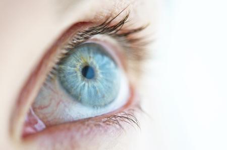 sense of sight: Close-up of a womans eye. Stock Photo