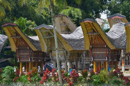 sulawesi: Tana Toraja, Sulawesi, Indonesia - August 15: Tongkonan traditional houses on August 15, 2016 in Tana Toraja, Sulawesi, Indonesia Editorial
