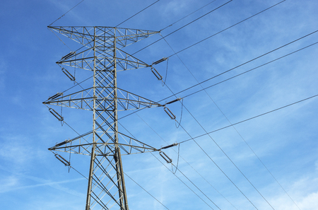 wire: High-voltage tower sky background.