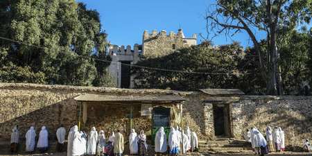 Aksum, Ethiopia - January 13: Unidentified pilgrims visit the new Cathedral of Our Lady Mary of Zion on January 13, 2018 in Aksum, Ethiopia.