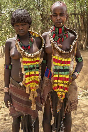 Turmi, Ethiopia - January 25: Unidentified Hamer tribe women. Hamer woman usually comb their hairs with soil on January 25, 2018 in Turmi, Amo valley, Ethiopia.