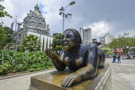 Medellin, Colombia - July 31: Sculpture by the artist and sculptor Fernando Botero in Plaza Botero on July 31, 2017 in Medellin, Colombia. Editorial