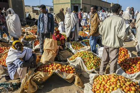 Hawzien, Tigray, Ethiopia - January 10: Sellers of tomatoes at the Hawzien market on January 10, 2018 in Hawzien, Tigray region, Ethiopia.