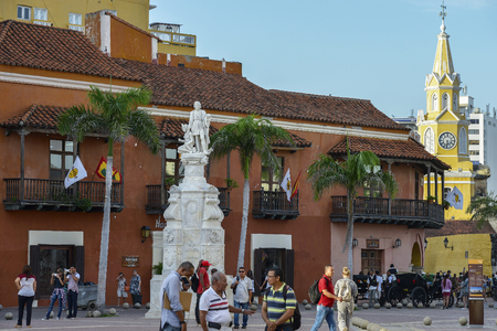 Cartagena, Colombia - August 3: Unidentified people walking in front of the memorial to Christopher Columbus on August 3, 2017 in Cartagena, Colombia. Editorial