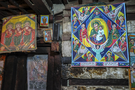Tigray, Ethiopia - January 11: Interior of the church at Debre Damo Monastery on January 11, 2018 in Tigray region, Ethiopia. Editorial