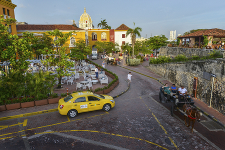 Cartagena, Colombia - August 3: Taxis in Old city on August 3, 2017 in Cartagena, Colombia.