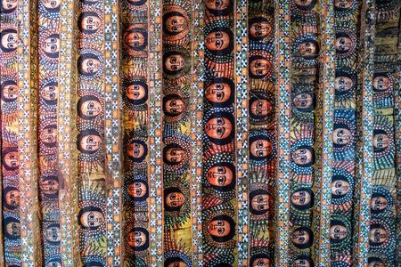 Gondar, Ethiopia - January 16: Interior painted with frescoes in the Church of Debra Berhan Selassie on January 16, 2018 in Gondar, Ethiopia. Editorial