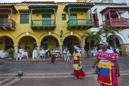 Cartagena, Colombia - August 3: Colombian women with traditional costume in Cartagena on August 3, 2017 in Colombia.