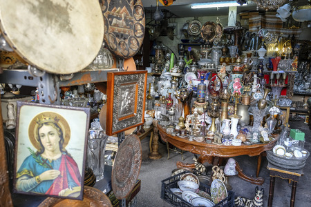 Athens, Greece - December 29: Old things in a street market on December 29, 2017 in Athens, Greece.