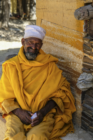 Tigray, Ethiopia - January 11: Portrait of an Orthodox Christian priest at the cliff-top monastery Debre Damo on January 11, 2018 in Tigray region, Ethiopia. Editorial