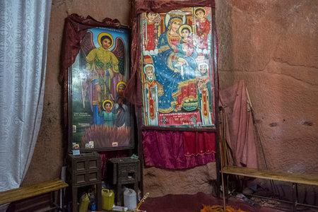 Lalibela, Ethiopia - January 6: Religious paintings inside Bet Giyorgis, one of the churches excavated in the rock of Lalibela on January 6, 2018 in Ethiopia. Editorial