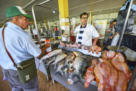 San Gil, Colombia - August 10: An unidentified men selling fish at the San Gil Market on August 10, 2017 in San Gil, Colombia.