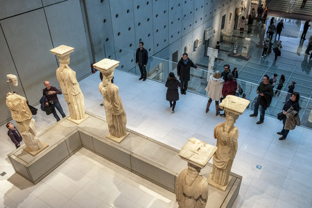 Athens, Greece - December 28: Interior View of the New Acropolis Museum in Athens. Designed by the Swiss-French Architect Bernard Tschumi on December 28, 2017 in Athens, Greece.