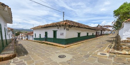 Barichara, Colombia - August 10: Colonial street in the village of Barichara, declared a national heritage on August 10, 2017 in Barichara, Colombia.