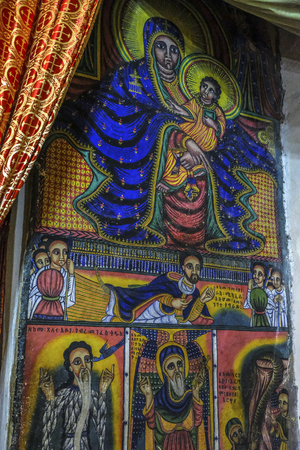 Aksum, Ethiopia - January 12: Interior of the church of Our Lady Mary of Zion, the most sacred place for all Orthodox Ethiopians on January 12, 2018 in Aksum, Ethiopia.
