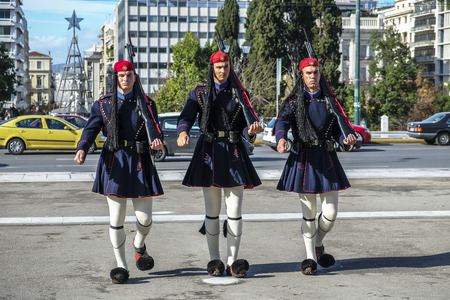 Athens, Greece - December 29: Changing of the guard at the Tomb of the Unknown Soldier in Syntagma Square at the Greek Parliament on December 29, 2017 in Athens, Greece.
