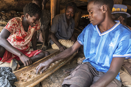 Gamole, Ethiopia, January 23: Unidentified children of the Konso tribe playing in the town house on January 23, 2018 in Gamole, Ethiopia.