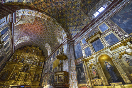 Bogota, Colombia - August 24: Santa Clara Museum Church on August 24, 2017 in Bogota, Colombia. Houses a major exhibit on religious art. Editorial